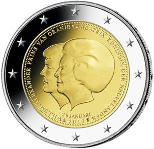Vorderseite der niederländischen 2-Euro-Thronwechselmünze.