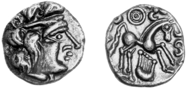 Sussex Lyre silver unit, 13mm, 1.29g, ABC 647. One of the first silver coins made in Britain, c.55-40 BC. Engraved by Gaulish die cutter? Ex Arundel hoard, W Sussex, 1994. Photo: Chris Rudd.