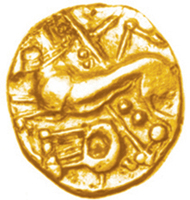 Forger's bronze die, 23x18mm, 46.80g, for reverse of Gallo-Belgic Crossed Lines quarter stater, c.mid to late 2nd century BC (cf. ABC 37), like this gold-plated forgery from France. Found near Alton, N Hants., 22.4.2003. Photos: Trevor Evans, Hampshire County Council Museums Service (die), Chris Rudd (coin).