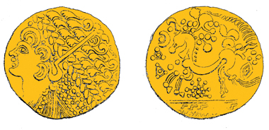 A gold-plated forgery (4.63g) of a Gallo-Belgic Broad Flan stater, c.175-100 BC, Sills Ab1 class 4b, like this genuine gold one (7.39g) from Leighton Buzzard, Beds., 1849. Found near Andover, N Hants, 27.2.2011. Were both made in Britain? Source: F W Fairholt for John Evans, 1864.