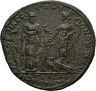 7: Septimius Severus and Julia Domna. Bronze medallion, homonoia issue with the isle of Kos. BMC 90; Franke / Nollé 626/627. 25.43g. 3rd known specimen ? By far the best preserved of the known specimens.