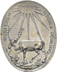 15: Brandenburg-Bayreuth. Christian, 1603-1655 Oval medal 1628. Brockmann 94; Fischer/Maué 2. 115; Menadier 1901; Slg. Wilmersdörffer 552. 44 x 34 mm, 21.70g. Extremely rare.