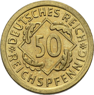 18: 50 Reichspfennig 1924 E. J. 318. Very rare. Proof.