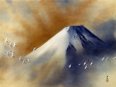 Snowy Peak with Cranes by Yokoyama Taikan, 1958. Source: Yokoyama Taikan Memorial Museum, Tokyo.