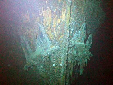 The bow of the SS Gairsoppa with both anchors visible has been lying nearly 3 miles beneath the North Atlantic since 1941. Photo: Odyssey Marine Exploration, Inc., www.odysseymarine.com.