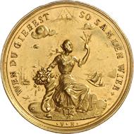 Los 1419: Hamburg, 1/2 Goldbankportugalöser (1723), Erntereiches Jahr. Schätzpreis: Euro 4.000.