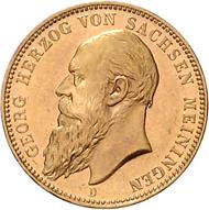 Los 2320: Sachsen-Meiningen, 20 Mark 1900 D. Schätzpreis: Euro 21.500.