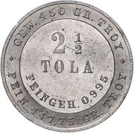Los 2723: Deutsche Kolonien, 2 1/2 Tola (Handelspiaster) (1877), Zink(?)-Probe Schätzpreis: Euro 2.500.