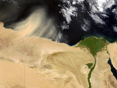 Satellite view of the Nile River delta. Photograph: NASA / Wikipedia.