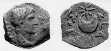 Augustus, ruler over Egypt 30 B. C.- A. D. 14. AE, no year. Rev. crescent and star. MMDe 12 (2003), 454.