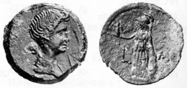 Livia, Gemahlin des Augustus. AE, 11/2. Rv. Athena. Heidelberger Münzhandlung 20/I (1997), 146.