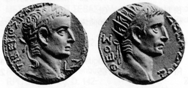 Tiberius, 14-37. Tetradrachm, 20/1. Rev. head of Augustus with radiant crown r. Münzhandlung Basel 6 (1936), 6.
