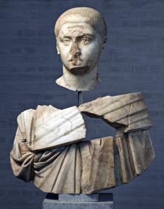 Deliberately destroyed marble bust of emperor Severus Alexander, 235 CE, Staatliche Antikensammlung und Glyptothek, Munich. Photo: Renate Kühling.