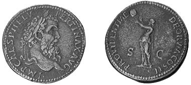 Imitation by Cavino of a sestertius of Pertinax.