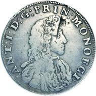 283: Monaco. Antoine I., 1701-1731. Écu 1707. G. 95. Sehr selten. Sehr schön. Schätzung: 30.000 Euro.