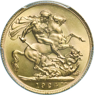 294: South Africa. George V, 1910-1936. Pound 1924A. Mintage 3.184 specimen. Very rare. PCGS: MS66. Estimate: 10,000 euros.