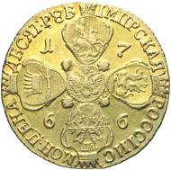 792: Russland. Katherina II., 1762-1796. 10 Rubel, St. Petersburg, 1766. Diakov 123. Sehr schön / Vorzüglich. Schätzung: 3.000 Euro.