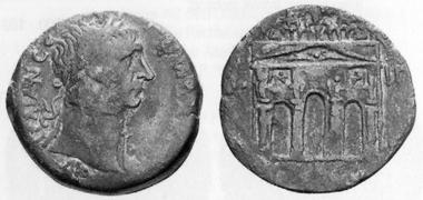 Trajan, 98-117. AE, 109/110. Rev. triumphal arch. MMDe 14 (2004), 765.
