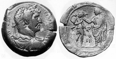 Hadrian, 117-138. AE, 130/1. Rev. emperor giving Egypt a leg-up. CNG 13 (1990), 112. The reverse motifs of 130/1 focus entirely on the imperial visit. In the following year, the mint reverted to its usual subjects for the coin reverses again.