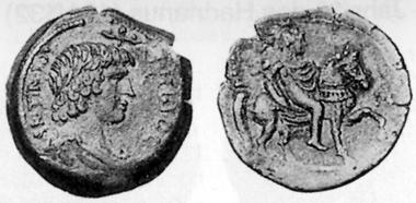 Antinoos, + 130. AE, 134/5. Rev. Antinoos riding r. CNG 13 (1990), 80.