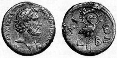 Antoninus Pius, 138-161. Tetradrachm, 138/9. Rev. Phoinix with nimbus. Auctiones 26 (1996), 411.