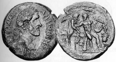 Antoninus Pius, 138-161. Tetradrachmon, 142/3. Rev. Heracles beating his teacher, the centaur Pholos, to death with his lyre. CNG 13 (1990), 215.