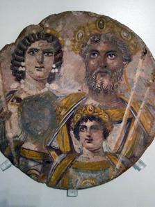 The family of Septimius Severus. Contemporary tondo, c. 199-201. The depiction of Geta was erased because of his damnatio memoriae. Berlin, Antikensammlung, inv. nr. 31329. Photograph: Ursula Kampmann.