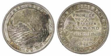 543: Insel Man. Georg III., 1760-1820. 5 Shillings 1811, Douglas Bank. RRR! Vorzüglich bis Stempelglanz. Schätzung: 3.500 Euro.
