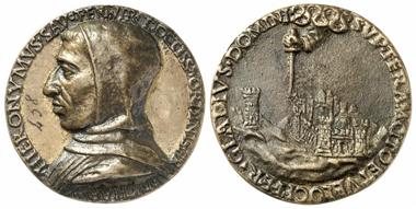 1024: Girolamo Savonarola. Teilvergoldete Bronzemedaille 1494, nach einem Entwurf wohl des Ambrogio della Robbia. R! Vorzüglicher früher Guss. Schätzung: 2.000 Euro.