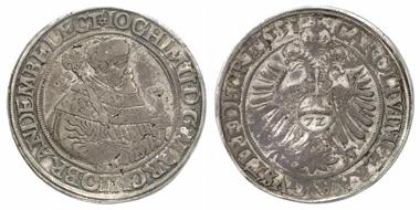 2426: Preußen. Joachim II., 1535-1571. Taler zu 72 Kreuzer 1551, Berlin. RRR! Sehr schön. Schätzung: 22.000 Euro.