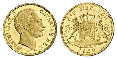 1801: Bayern. Maximilian II. Joseph, 1848-1864. Zwitterdukat 1850. RR! Fast Stempelglanz. Schätzung: 12.500 Euro.