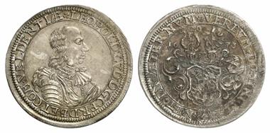 2422: Pfalz-Veldenz. Leopold Ludwig, 1634-1694. Probe-Halbtaler 1673, Weinburg oder Lützelstein. Abschlag vom Vierteltaler-Stempel. RRR! Vorzüglich bis Prägefrisch. Schätzung: 5.000 Euro.
