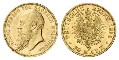 4335: Sachsen-Meiningen. Georg II., 1866-1914. 20 Mark 1889. J. 277. Fast Stempelglanz / Stempelglanz. Schätzung: 13.500 Euro.