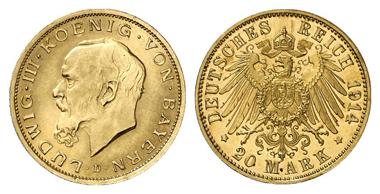 4554: Bayern. Probe zu 20 Mark 1914 D, glatter Rand mit Randschrift: GOTT MIT UNS zwischen Arabesken. RRR! Fast Stempelglanz. Schätzung: 9.000 Euro.