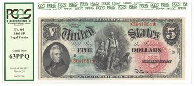 4792: USA. 5 Dollars 1869. Fast kassenfrisch. Schätzung: 1.500 Euro.
