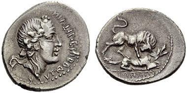 Lot 95. Roman Republic. Bellum Sociale. Denarius. Estimate CHF 10,000.