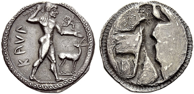 Lot 278: ITALY, BRUTTIUM, CAULONIA, Nomos c. 525-500 BC, AR.