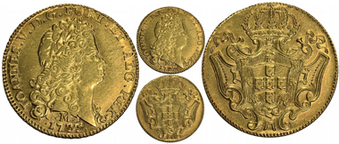 94: Brazil (Minas mint), 6400 reis, Joao V, 1733-M. Estimated: $20,000-40,000.