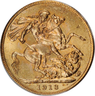 20314: CANADA. Georg V. Sovereign, 1913. Fr-2. PCGS MS-64. Estimate: $3,500-5,000.