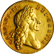 20622: GREAT BRITAIN. Charles II. 5 Guineas, 1682. Fr-281. PCGS AU-50 Secure Holder. Estimate: 10,000-15,000.