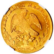 21112: MEXICO. Hermosillo. 8 Escudos, 1873-HoPR. Fr-73. NGC MS-64. $7,000-10,000.