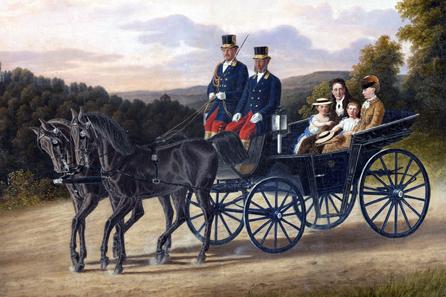 Königin Olga, Herzogin Wera und ihre Kinder Olga und Elsa in der Kutsche. Justus Hermann Fleischhauer (1816-1885), Öl auf Holz, Stuttgart, 1862. © H. Zwietasch, Landesmuseum Württemberg, Stuttgart.