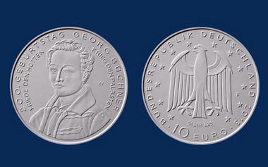 Die neue 10-Euro-Sammlermünze zu Georg Büchners 200. Geburtstag. © BADV.
