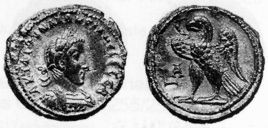 Macrianus, 260-261. Tetradrachm, 260/1. Rev. eagle standing l. Auctiones 26 (1996), 491. While the Roman imperial coins of Macrianus and Quietus are rather scarce, their coins can be found from time to time amongst the products of the Alexandrinian mint.