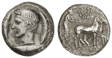 11: SICILIA, Gela, AR-Tetradrachme, ca. 425-420 v.u.Z. Jenkins 455. Ausruf: 10.000 Euro.