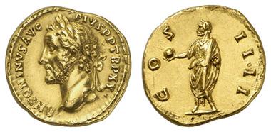 196: ANTONINUS PIUS, 138-161, Aureus. Kampmann 35.23. fast stgl. Ausruf: 6.000 Euro.