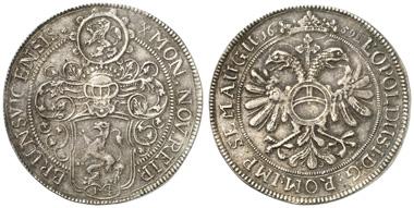 368: BRAUNSCHWEIG, Stadt, 1 1/4 Taler 1659, mit Titel Kaiser Leopold I. Dav. 264. fast vz. Ausruf: 2.500 Euro.