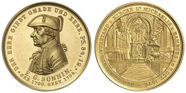 1774: HAMBURG, Stadt, Bankportugaleser zu 10 Dukaten, 1876. Gaedechens 2111 (Av.), Gaedechens Nachtrag 2317 (Rv.). ex PP. Ausruf: 5000 Euro.