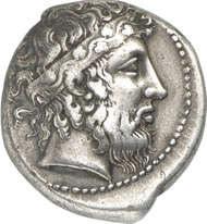 4574: Greeks. Naxos. Tetradrachm, 430-420. Cahn 100. From auction sale Hess 247 (1978), 52. Very rare. Good very fine. Estimate: 25,000 euros.