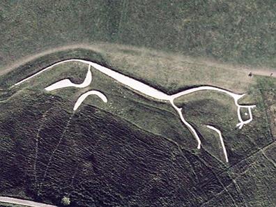 Satellite view of the famous Uffington White Horse. Photo: NASA.